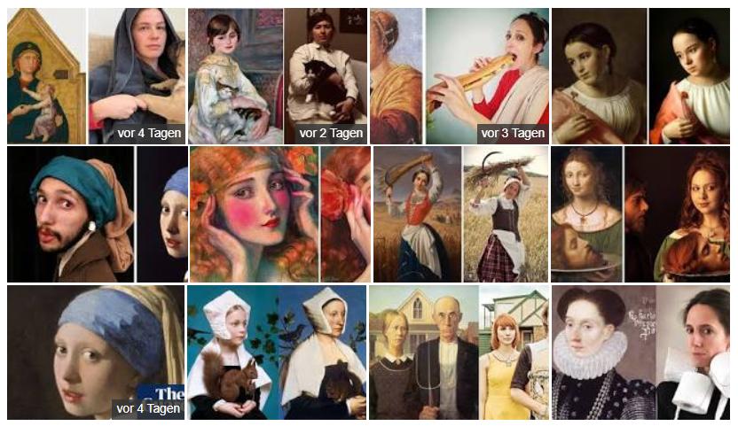 Google Bildersuche nach Recreating Art